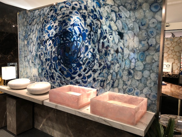 Blue Agate wall with Pink Quartz bathroom elements