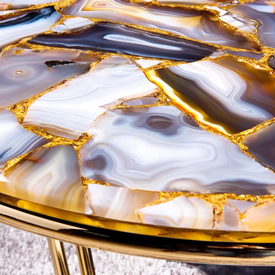 Agate met goud precious stone tafel