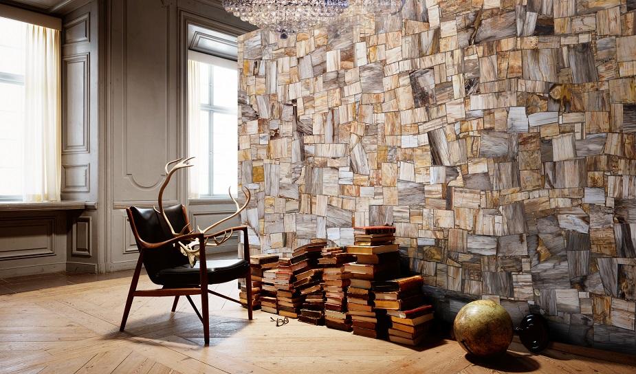 Decorative wall with rectangular pieces petrified wood Jurassic