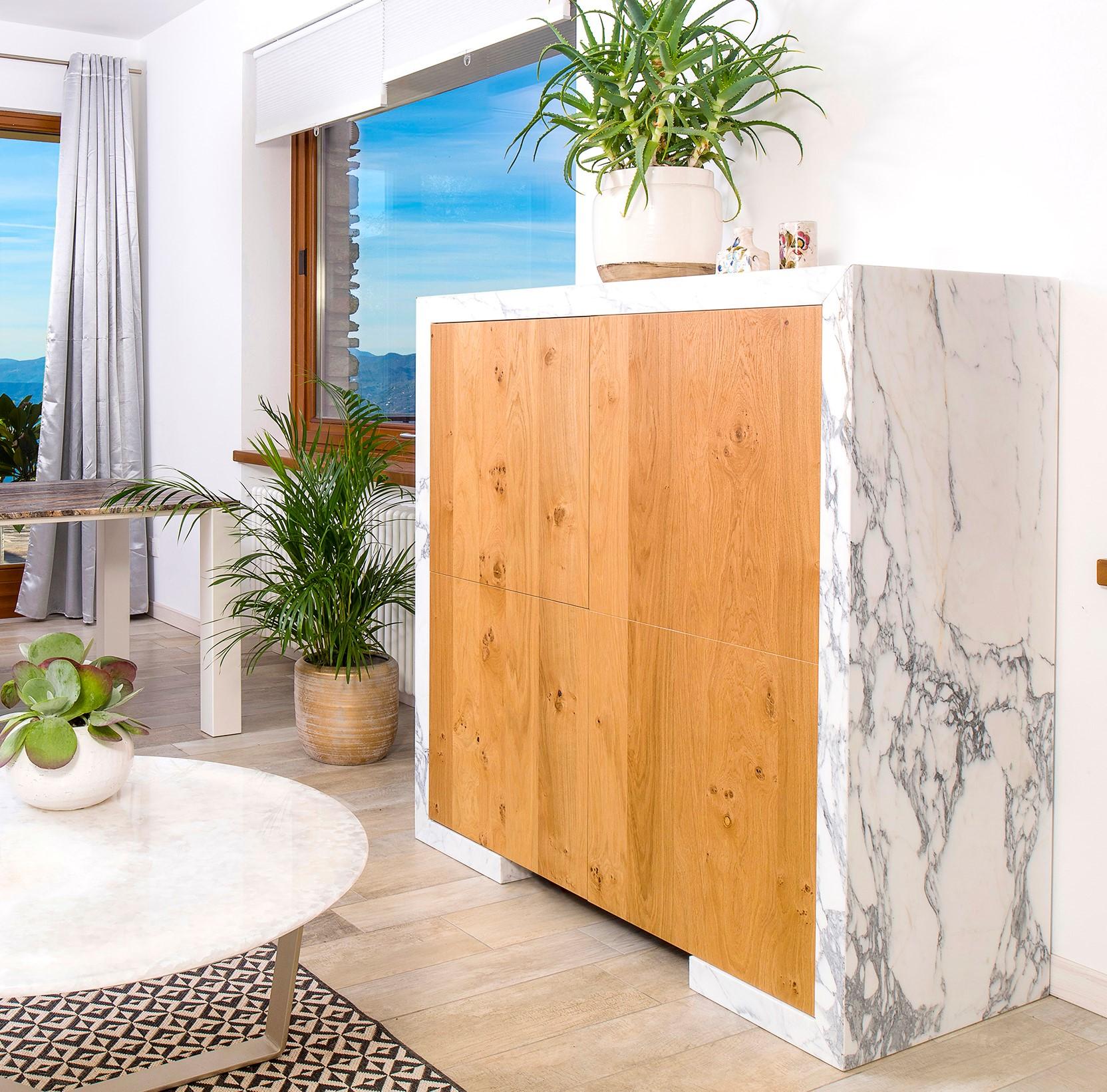 Oak - calacatta marble cabinet - Purev Natural Design