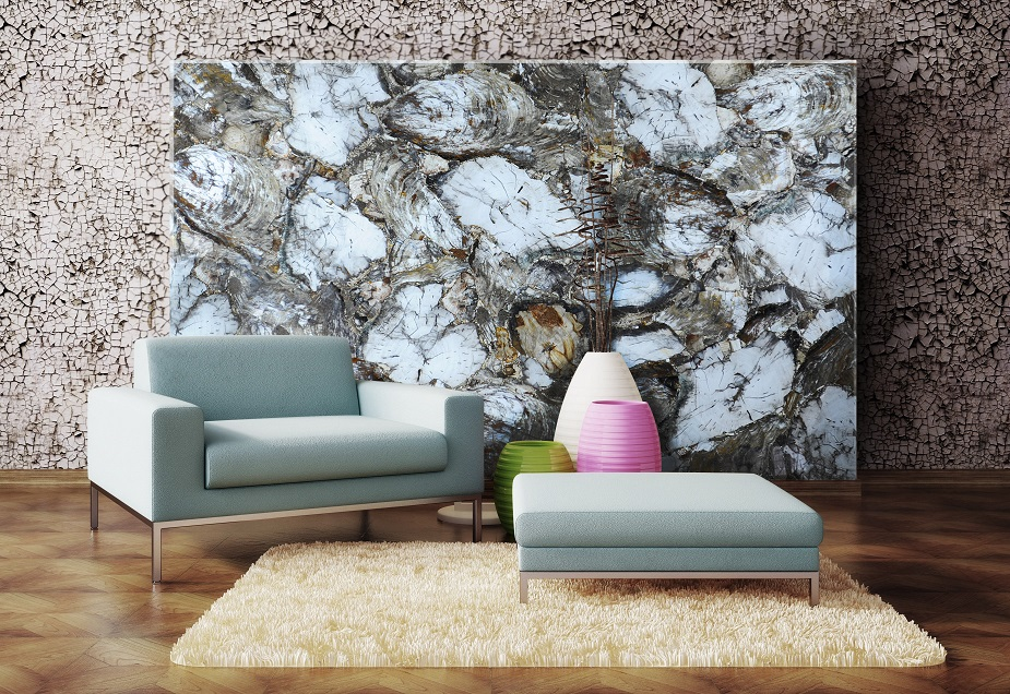 White petrified wood used as decorative wall