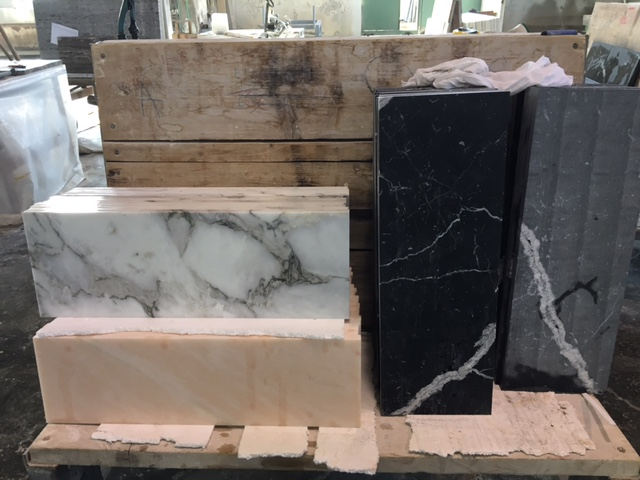 Nero Marquina and Rosa Portogallo marble