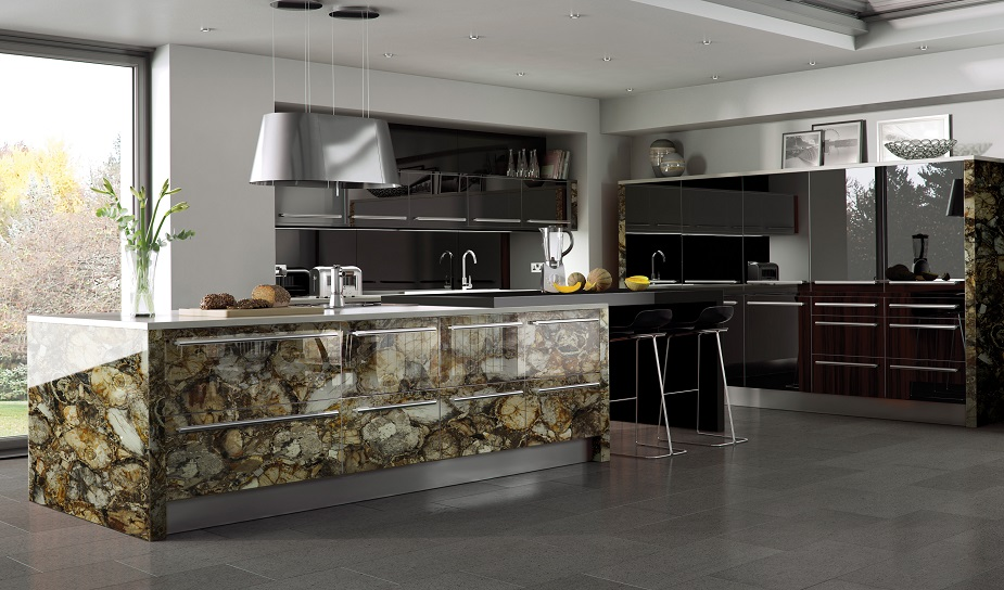 Brown petrified wood kitchen