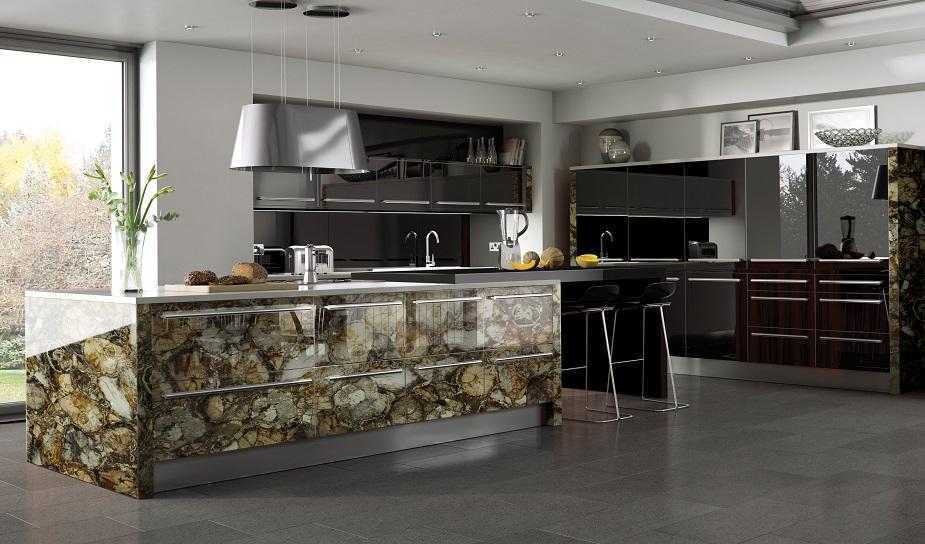 Brown petrified wood kitchen