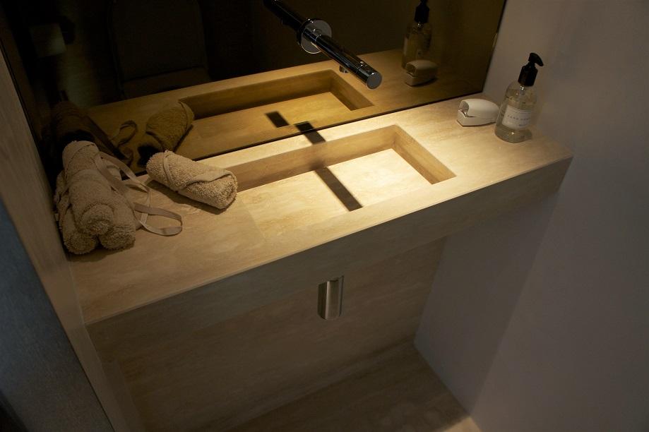 Travertin vanity (made for Atre)