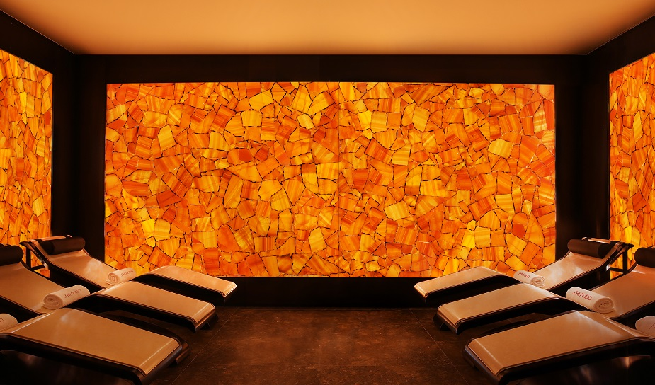 Spectacular orange backlit feature wall