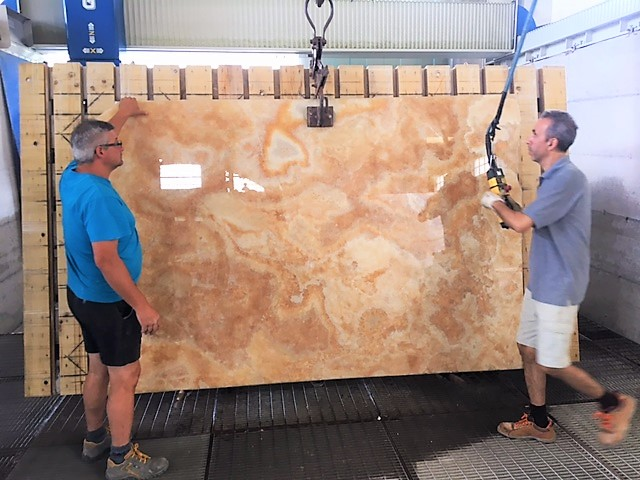 The starting point a slab of Onyx Cappuccino
