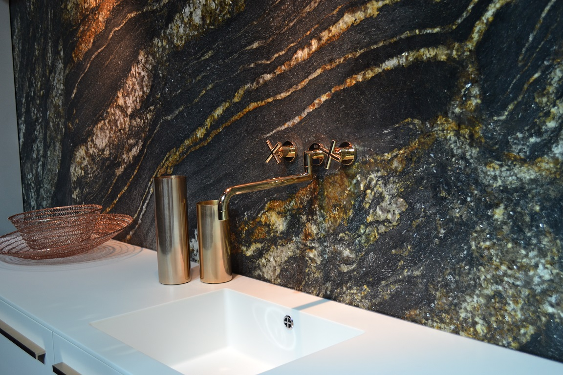 Magma Gold backsplash