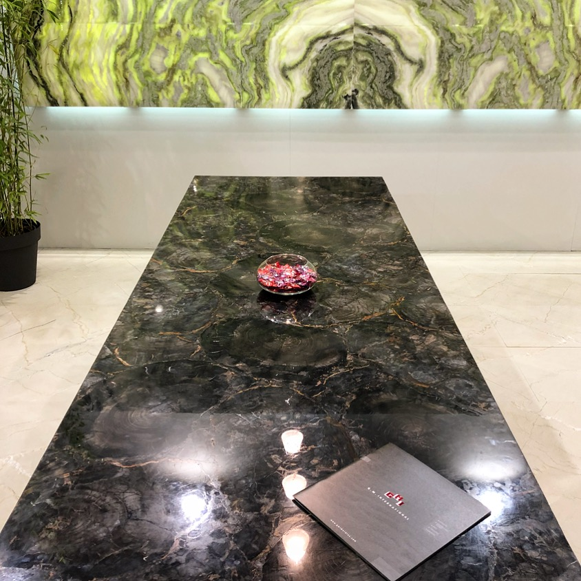 Black petrified wood precious stone table