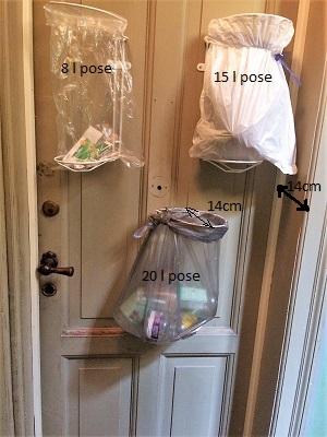 affaldsstativ/ affaldsstativer til et køkken. Affaldssorteringssystem Flower i brug