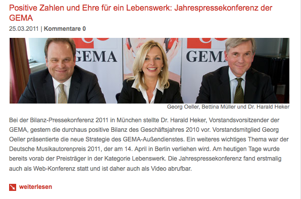 Der Vorstand der GEMA bei der Jahrespressekonferenz mit Moderatorin Bettina Miserre (geb. Müller)