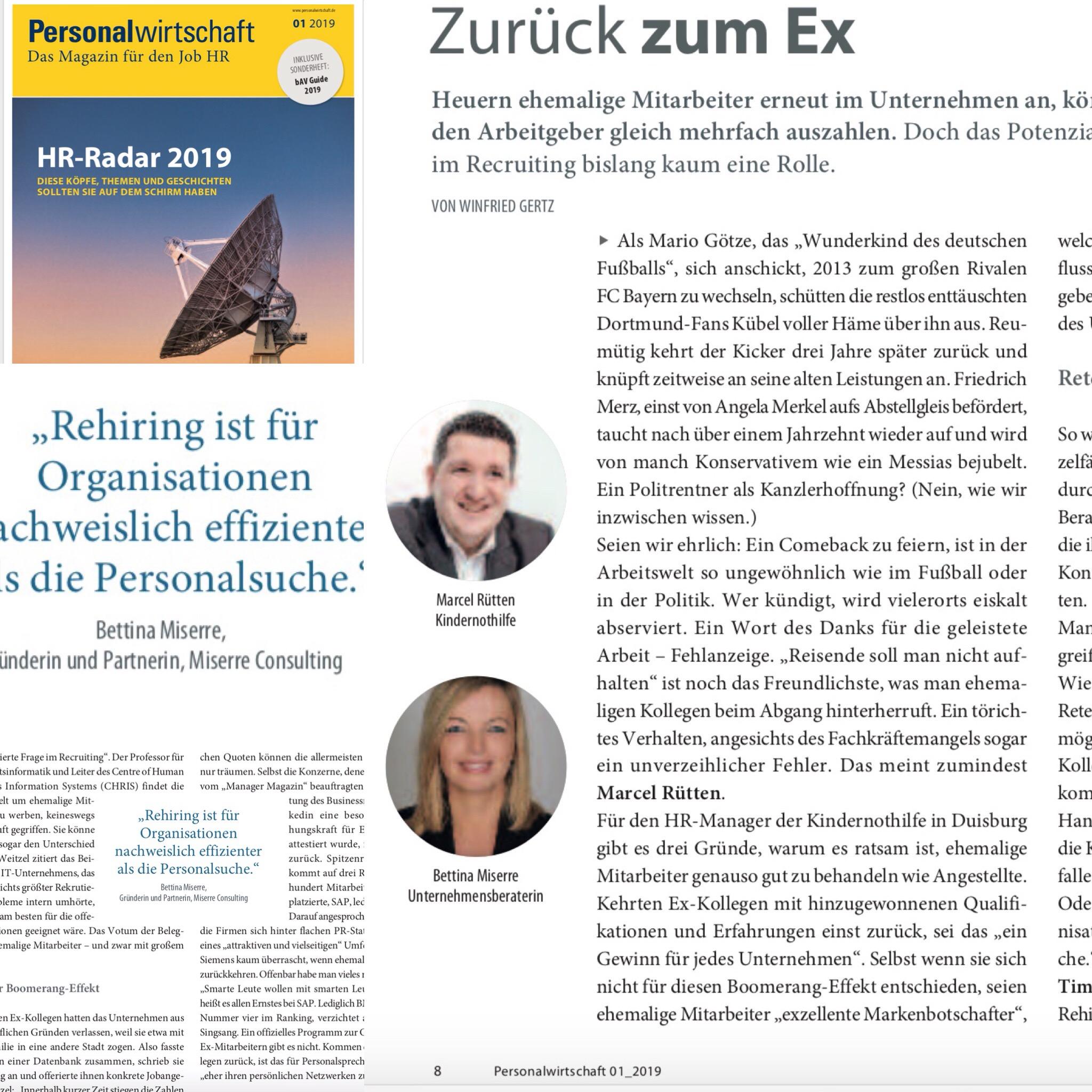 """Rehiring! Experteninterview mit Bettina Miserre in """"Personalwirtschaft"""", 2019"""