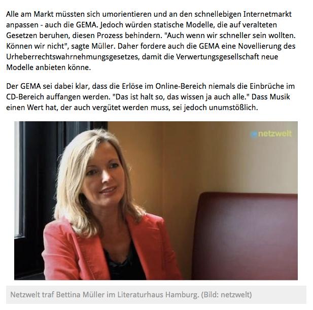 Link: Bettina Miserre im Video-Interview mit Netzwelt in Hamburg