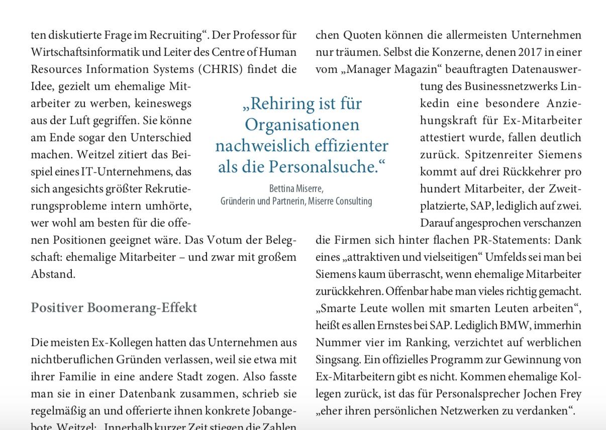 """Artikel & Experteninterview: Bettina Miserre in """"Personalwirtschaft"""", Ausgabe Januar 2019"""