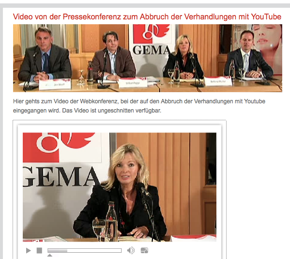 Online-Pressekonferenz Litigation-PR: Vertragsverhandlungen Youtube/Google