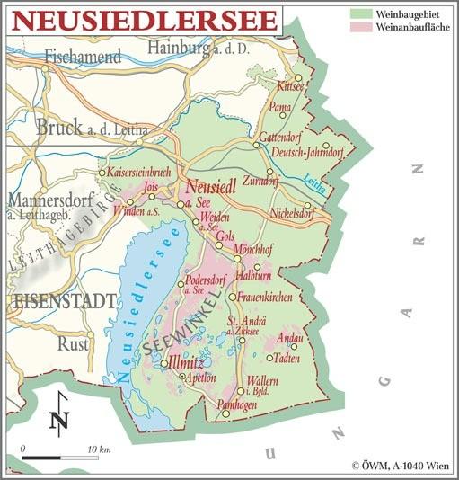 Weinanbauflächenkarte Neusiedlersee - ÖWM/Photograph