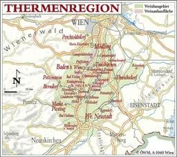 Weinanbauflächenkarte Thermenregion -