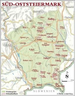 Weinanbauflächenkarte Südoststeiermark - ÖWM/Photograph