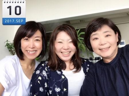 東京リラックセーションアカデミースクールブログ。全身リンパオイルトリートメントコース卒業生高城さんと背中のリンパオイルトリートメント講習受講生ちづこさんとの3人の記念写真