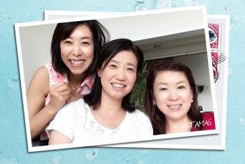 東京リラックセーションアカデミースクールブログ。リンパケアリストコース在校生根本さんとリンパケアリストコース卒業生栗原さんとの3人の記念写真