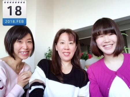東京リラックセーションアカデミースクールブログ。ボディセラピストコース卒業生田舘さんとボディセラピストコース在校生桑名さんと3人の記念写真
