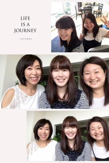 東京リラックセーションアカデミースクールブログ。ボディセラピストコース在校生桑名さんとリンパセラピストコース卒業生三浦さんとの3人の記念写真
