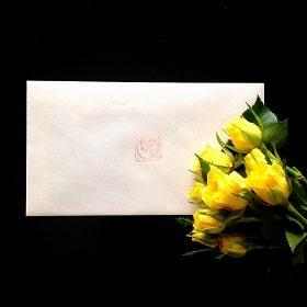 東京リラックセーションアカデミースクールブログ。サロンのお客様に頂いた封筒の写真
