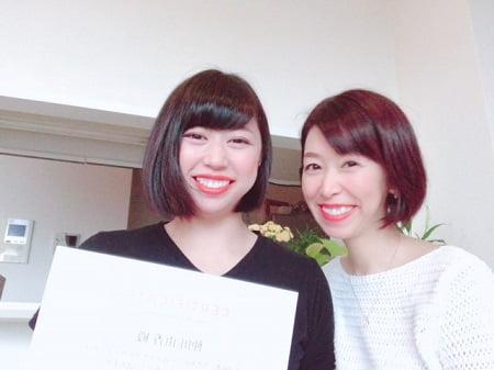 東京リラックセーションアカデミースクールブログ。ボディセラピストコース卒業生仲田さんとの記念写真