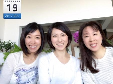東京リラックセーションアカデミースクールブログ。ボディセラピストコース卒業生の田舘さんとアロマセラピストコース在校生伊藤さんとの3人の記念写真