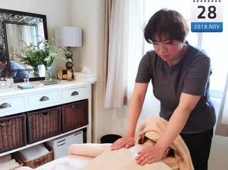 東京リラックセーションアカデミースクールブログ。全身リンパオイルトリートメントと整体が習得できるリンパセラピストコース卒業生庄司さんの写真