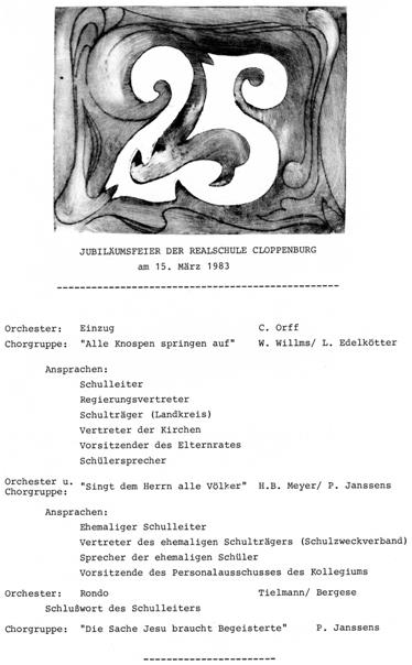 Programm der Jubiläumsfeier vom  15. März 1983