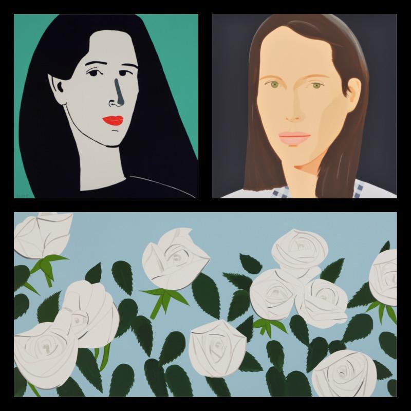 """""""Diana"""", Linocut, 2014, 92 x 95 cm, """"Christy"""" Silkscreen, 2013, 152.3 x 126.9 cm, """"White Roses"""" Silkscreen, 2014, 108.0 x 217.0 cm, alle Bilder signiert und nummeriert © bildrecht, 2017"""