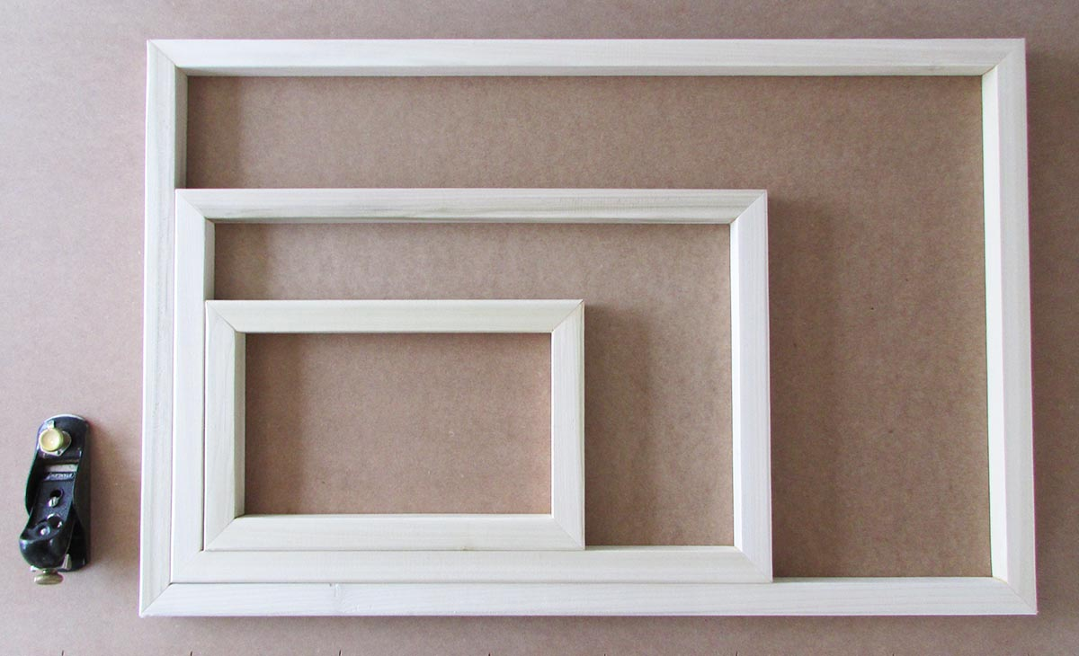 Small, medium and large canvas frames