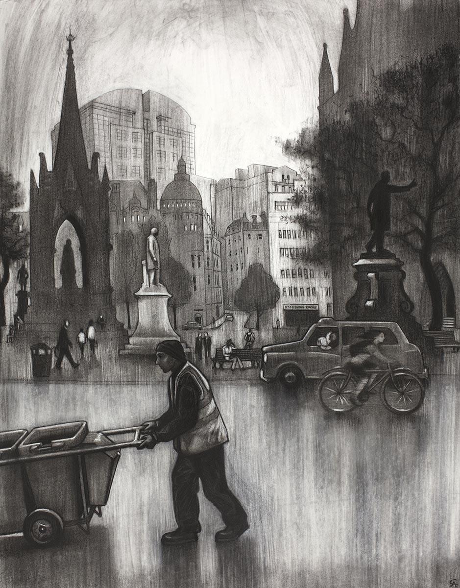 Charcoal drawing Albert Square Manchester fine art print street scene urban landscape cityscape Adophe Valette