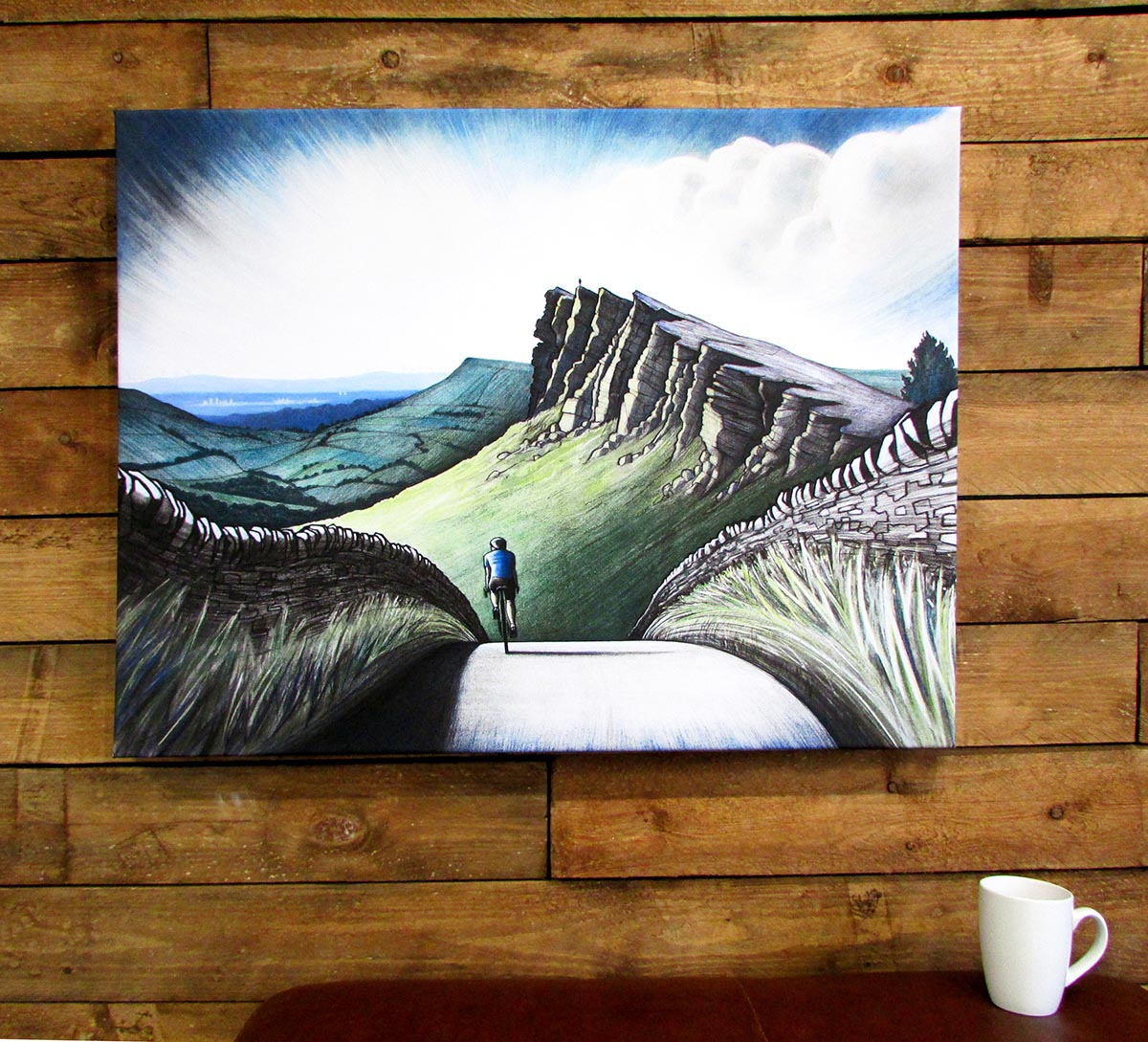 A hung canvas 'Windgather Rocks'