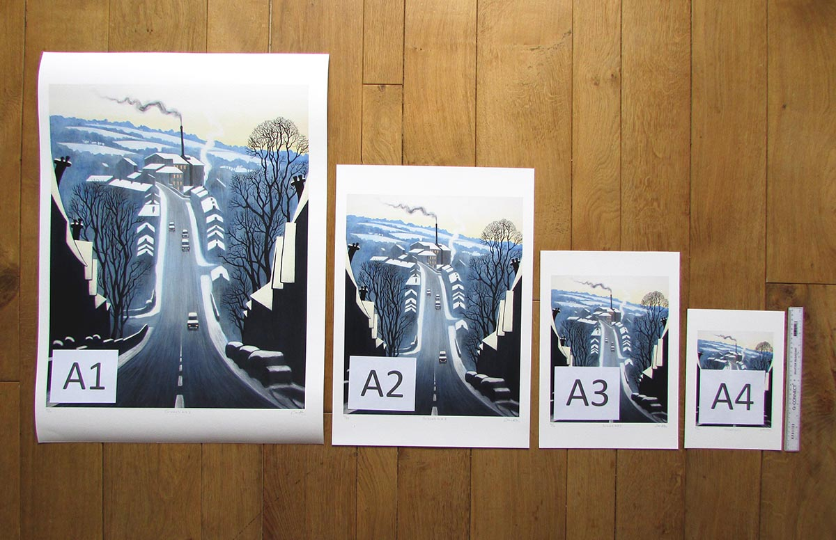 Typical fine art paper print sizes for standard A4, A3, A2 and A1 framing