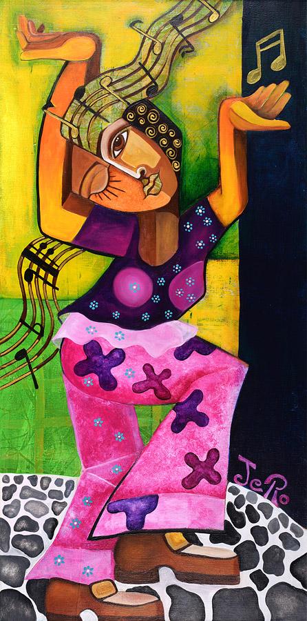 Das Hippiemädchen Acryl auf Leinwand 100 x 50