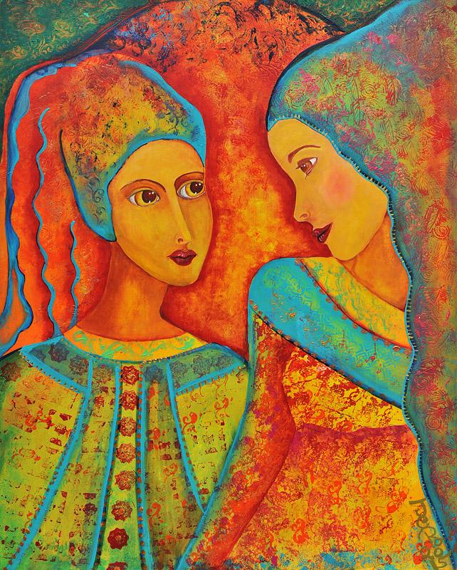 Liebe auf den ersten Blick Acryl auf Holz 80 x 65