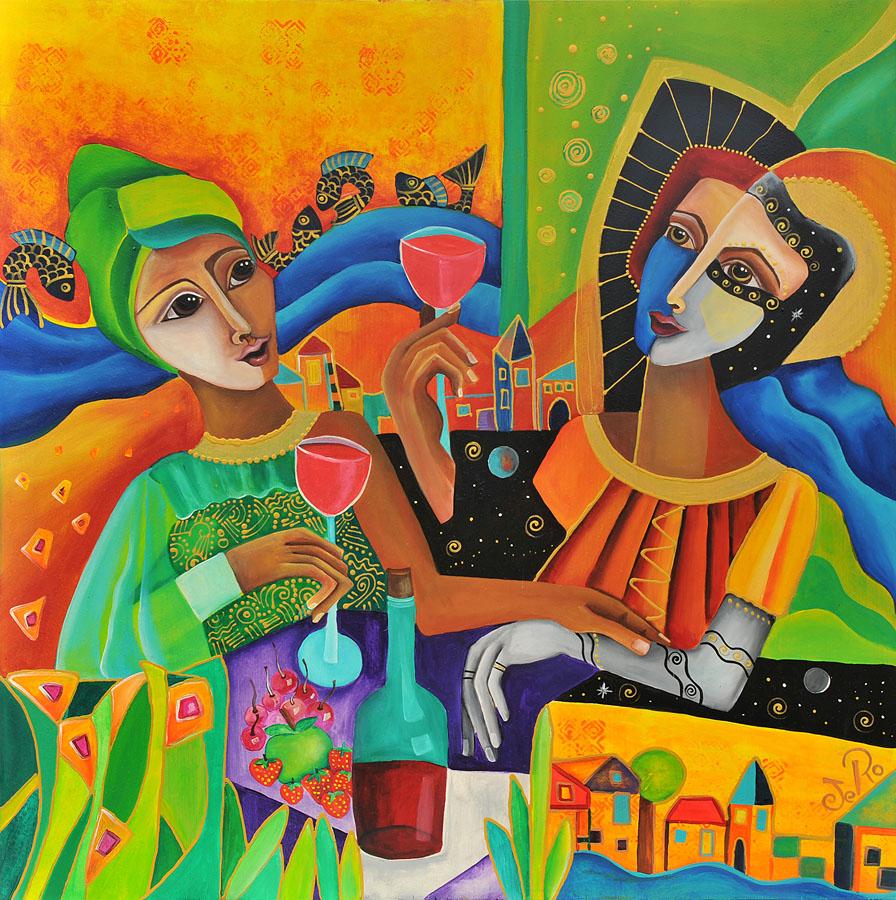 Zwei Frauen sitzen zusammen trinken Wein, schauen noch vorne und lassen die Vergangenheit hinter sich