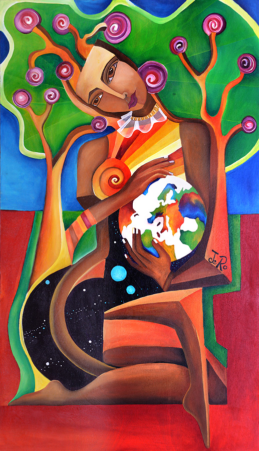 Die Baumfrau trägt die Welt in Ihren Händen, Sie schützt und sieht das Licht der Welt