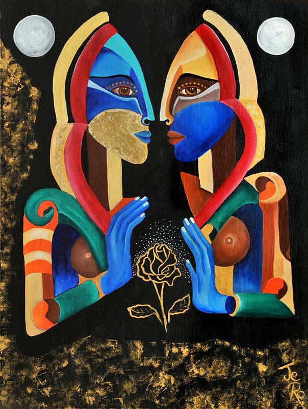 zwei Personen Begegnen sich, sie schauen in einen Spiegel zusammen gefügt ergeben Sie ein ganzes