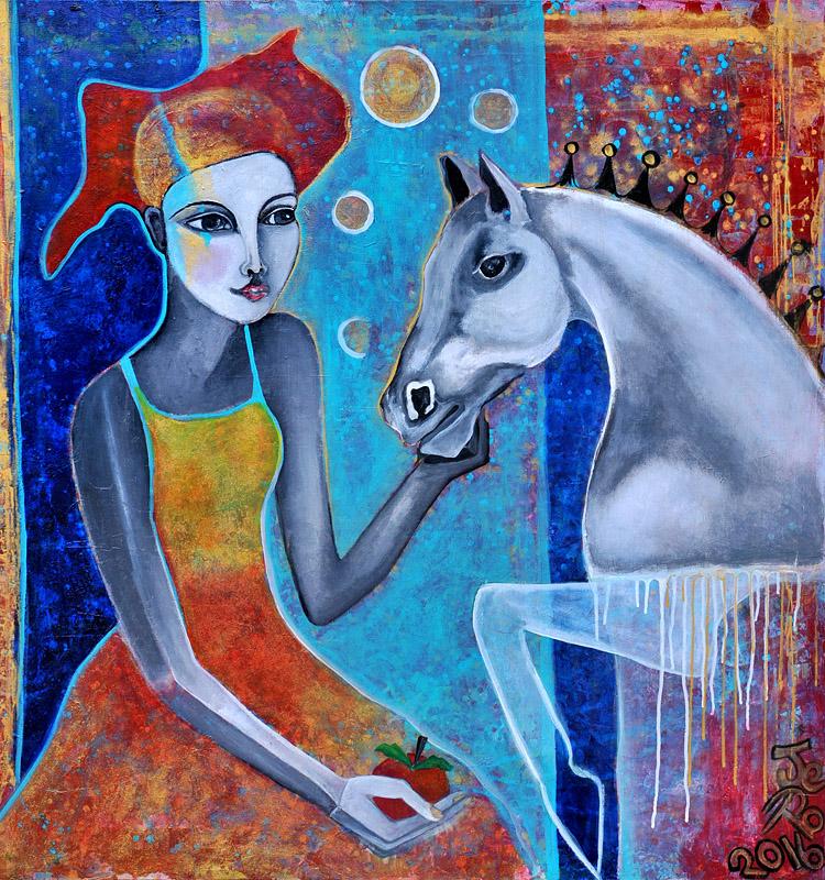 eine Frau füttert ein Pferd mit einem Apfel, Acryl auf Leinwand