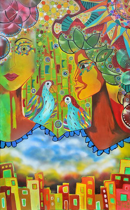 Zwei Engel wachen über eine Stadt sie tragen Vögel auf Ihren Schultern