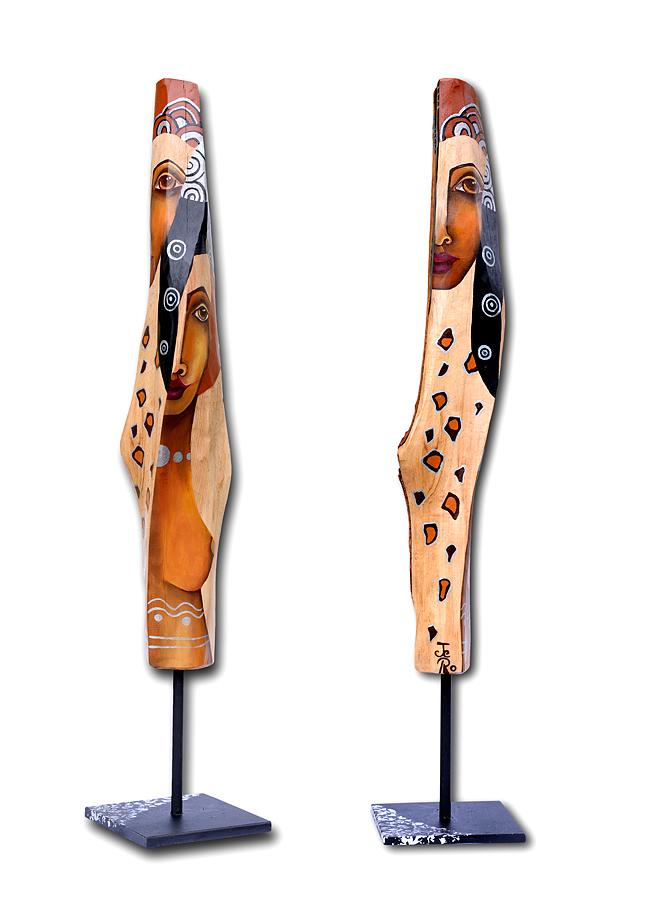 bemaltes Buchenholz auf Metall Ständer, zwei Frauen, Akt