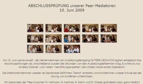 Peermediationsausbildung NMS Wendstattgasse 2009