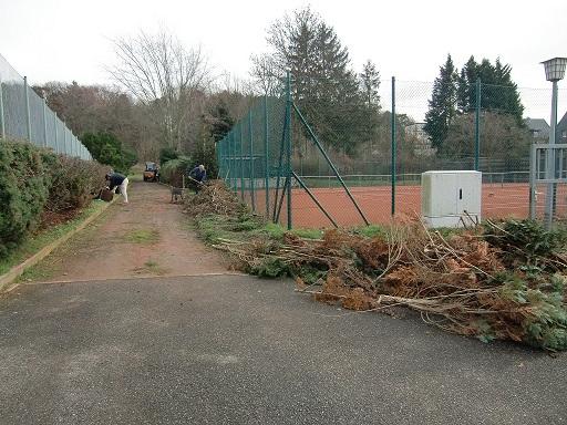 Strauchschnitt bei den Tennisplätzen.