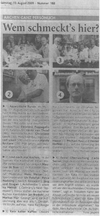 """Quelle: Artikel aus der """"Aachener Zeitung"""""""