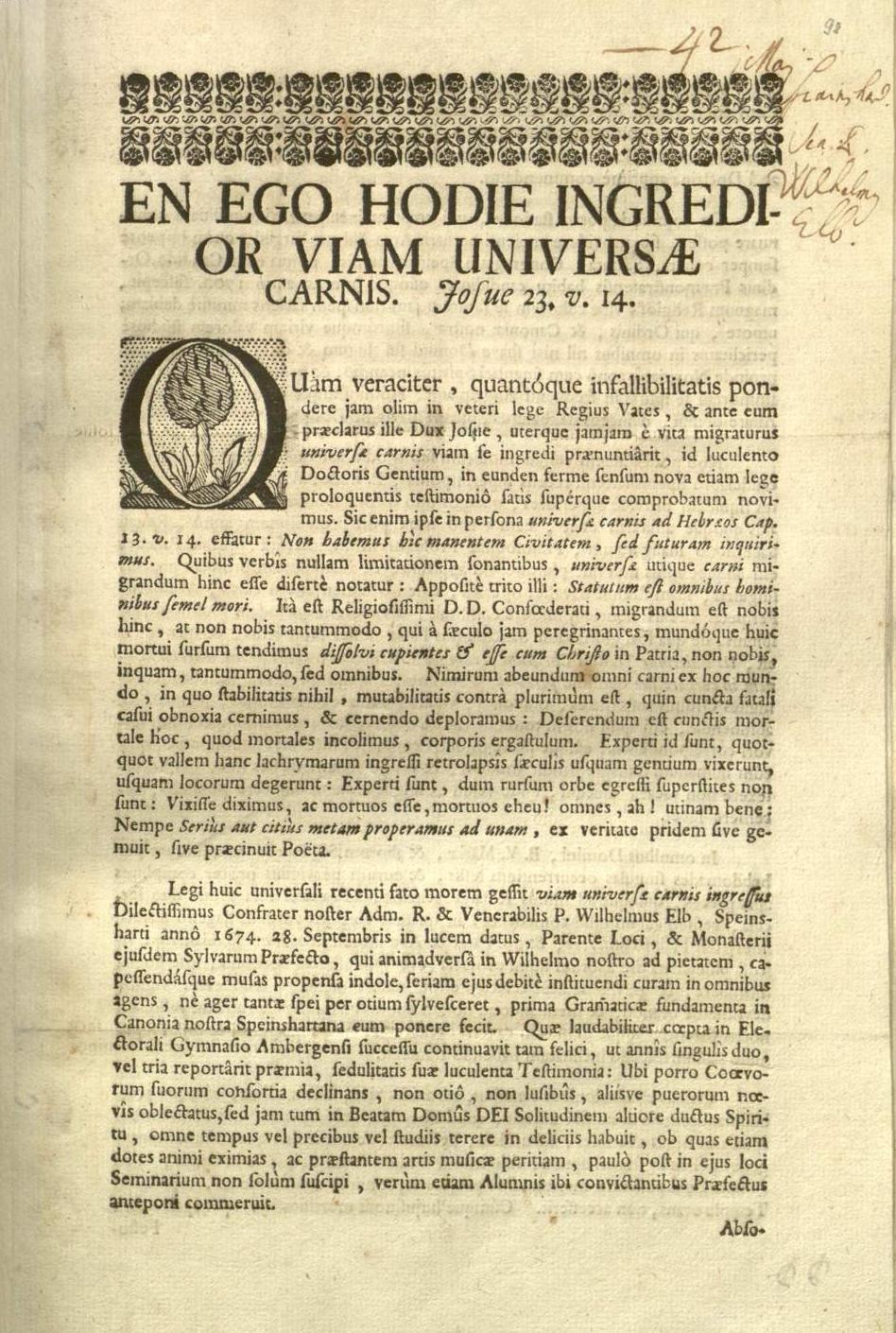 P. Wilhelm Elb (1674–1742) – Ein Speinsharter Chorherr im Ruf der Heiligkeit
