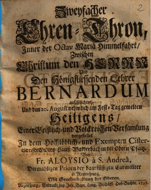 Festliche Gelegenheitspredigten aus dem barocken Walderbach