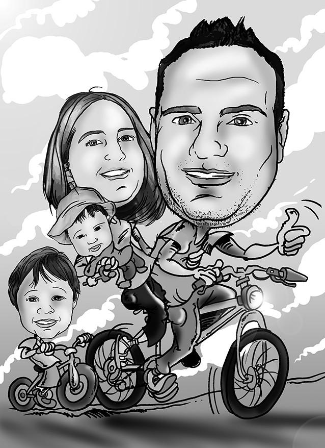 Caricatura grupo, blanco y negro 2 adultos + 2 niños + vehículo por 40€